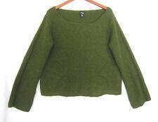 Eileen Fisher Wool Angora Softest Dark Green Artsy Sweater Size Xl