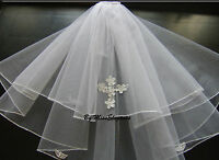 White Ivory Communion Veil  2 Tier First holy communion veil. with CROSS motif.