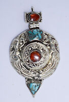 Asian Sterling Silver Locket Beautiful  Handmade  Pendant Turquoise Coral K16