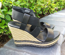 Charles by Charles David Espadrille Wedge Sandals Shoes Black Sz 7.5