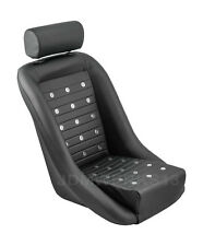RETRO CLASSIC VINTAGE RACING BUCKET SEAT SEATS ALL BLACK PVC W SLIDERS