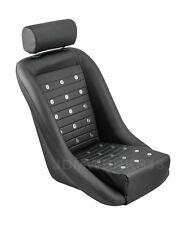 RETRO CLASSIC VINTAGE RACING BUCKET SEAT SEATS ALL BLACK PVC W SLIDERS