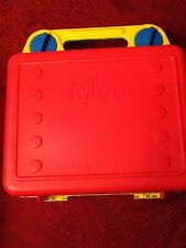 Vintage Igloo Lunch Kit  Red Yellow & Blue Retro Plastic Lunchbox