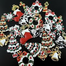 15pcs  Mix Christmas Socking Gift Enamel Decoration Charms Pendant Jewelry 38922