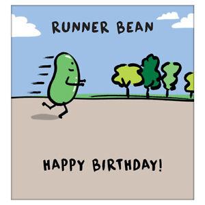 Runner Bean, Happy Birthday! Funny Joke Card With A Bean Running, By Human Bean