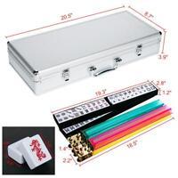 American Mahjong Set Mah Jongg Set Aluminum Case 166 Tiles Pushers/Racks Silver
