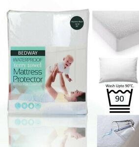 Waterproof Terry Towel Mattress Protector Wash Up to 90° Anti Allergy Dust Mite
