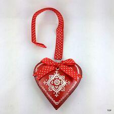 Herz Blech Rot mit Verzierung Schleife und Band zum Hängen