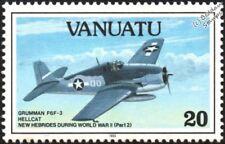 WWII GRUMMAN F6F-3 HELLCAT Carrier-Based Fighter Aircraft Stamp (1993 Vanuatu)