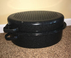 "Black Speckled Enamel Oval Roasting Pan with Lid & Rack 16""x12"" #A33"