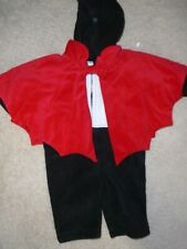 INFANT 3-6 MONTHS OLD NAVY BLACK BAT/VAMPIRE COSTUME WITH RED WINGS - NWT