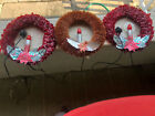 """(3) Vintage Red Cellophane Plastic Wreath w/ Candle Lights 11""""  From The 40th"""