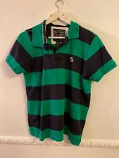 Muscle Abercrombie And Fitch L Large Striped Polo Shirt Green Black Hoops Cotton