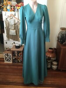 Vintage 60's 70's Green Evening/prom Dress Maxi Ankle Length Gown Long Sleeve 10