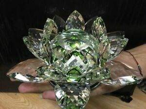 EXTRA BIG CRYSTAL LOTUS FLOWER ORNAMENT WITH GIFT BOX CRYSTOCRAFT-ALL COLOURS_UK