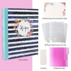 Full Page Recipe Binder Organizer Card Kit 30 Page Protectors 3 Tabbed Dividers