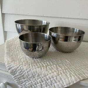 Revere Ware Nesting Mixing Bowls Small Stainless Steel Hanging Rings Set of 3