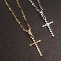 Women Men Fashion Cross Simple Charm Jewelry Pendant Necklace Chain