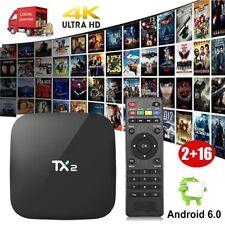 2GB/16GB TX2 Android 6.0 Quad Core Smart TV BOX 4K Movies Network WIFI Bluetooth
