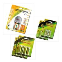 UNIROSS PLUG IN COMPACT BATTERY CHARGER + 20 AA / AAA RECHARGEABLE BATTERIES