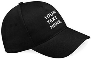 Embroidered/Personalised Baseball Cap, Black, Text/Logo