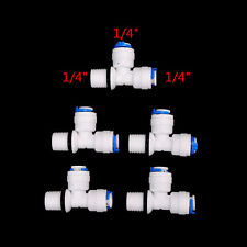 """5Pcs 1/4"""" Tube Od Hose Type T Qucik Connection Ro Water Connector OQ ME"""