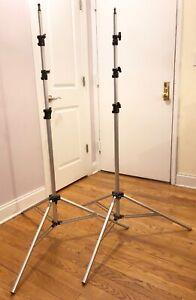 Light Stand -- 2 Bogan Manfrotto 3336 Aluminum Light Stands Adjustable 11 Feet