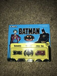 BATMAN 1989 Vintage Micro Vehicle 3 Pack - Batmobile Batwing JokerVan ERTL#2498