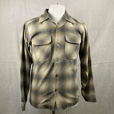 Vintage Pendleton Grey & Tan Shadow Plaid Wool Board Shirt SZ S