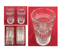 VINTAGE Libbey Drinking Glass Tumblers Clear RADIANT 16 oz. Ridges Set of 2