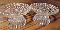 Vtg Set (2) Clear Glass Candlestick Holders-Scalloped Edges-Ribbed Design    122