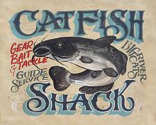 Catfish Shack Fishing  Vintage Beach Southern Decor Fish Outdoor River