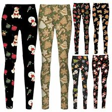 Ladies Latest Leggings Pants Ginger Bread Snowman Xmas tree Rudolph Face Print