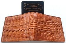 Genuine Crocodile Alligator Big Tail Skin Leather Man Bifold Wallet Tan brown