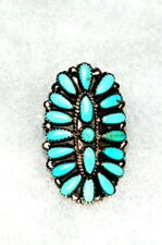 "Large 1 3/4""  PAWN Zuni Sterling Turquoise CLUSTER Ring Signed P Jones - Size 7"