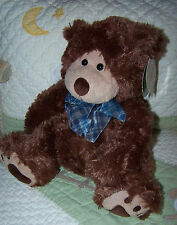 "First & Main Brown Stuffed Plush Teddy Bear DONAHUE 12"" NWT w Paw Prints 1875"