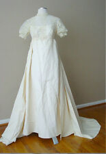 VINTAGE RETRO SUE PEYTON'S PEARLS LACE DETACHABLE TRAIN IVORY WEDDING DRESS GOWN