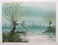 "BERNARD CHAROY ""THE LAKE"" Hand Signed Original 1978 Lithograph Art"