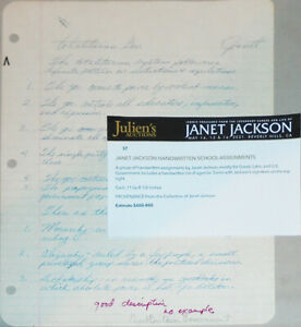 Rare -Janet Jackson- Signed/Autograph Handwritten Document - From Her Collection