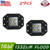 "2X 4""in 16W Flush Mount Offroad Led Work Light Flood Cube Pods Reverse Lamp18W"