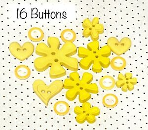 16 X MIX OF YELLOW BUTTONS