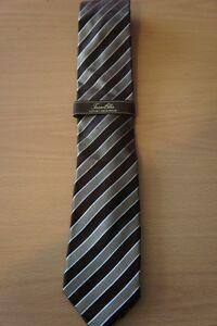 Tasso Elba Luxury Neckwear Tie Brown Multi Striped Molli Wardrobe Silk Necktie