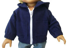 "Navy Blue Hoodie Jacket for 18"" American Girl Boy Doll Clothes DETAILED!"