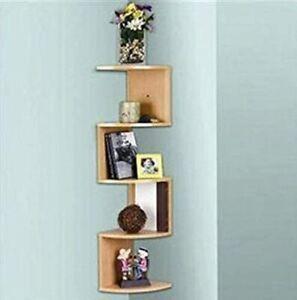 New Corner Wall Shelves Stackable 5 Tier Oak Zig Zag Natural Finish L7060 Wood