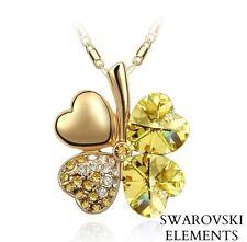 collier chaîne pendentif trèfles 4 feuilles Swarovski® Elements camel pq or