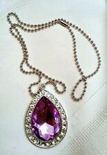 New, rhinestone and faceted glass Sofia The First Purple Amulet necklace