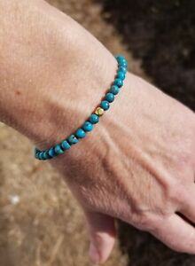 RARE 18k & 14k Solid Gold 4mm Blue Black Matrix KINGMAN TURQUOISE Bracelet