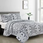 Reversible+Quilt+Coverlet+Set+3Pcs+Lightweight+Bedspread+with+Two+Shams+KING