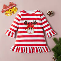 Toddler Kids Baby Girls Christmas Elk Striped Dress Princess Outfits Clothes