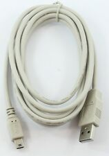 BEIGE 2m 1.8 Metre USB 2.0 Mini type B Data Cable Lead A Male Gold Contact